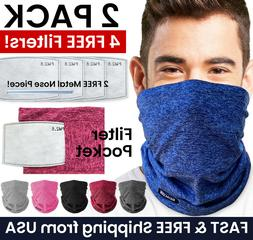 2 PACK Face Mask Neck Gaiter Balaclava with Filter Pocket +