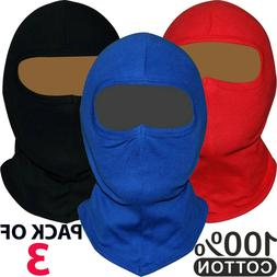 3 Pack Men Balaclava Black Face Mask Lightweight Motorcycle