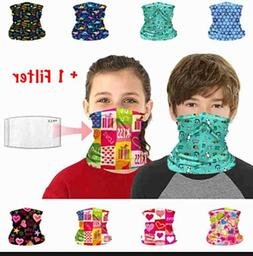 Kids Neck Gaiter Bandana Face Mask Tube Scarf Balaclava Head