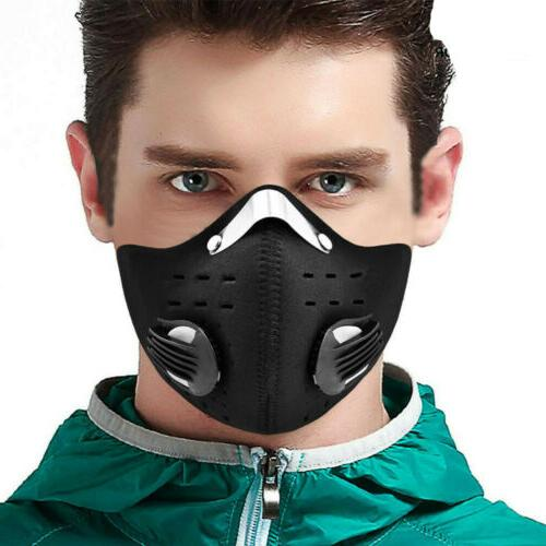 black face mask with reusable carbon filter
